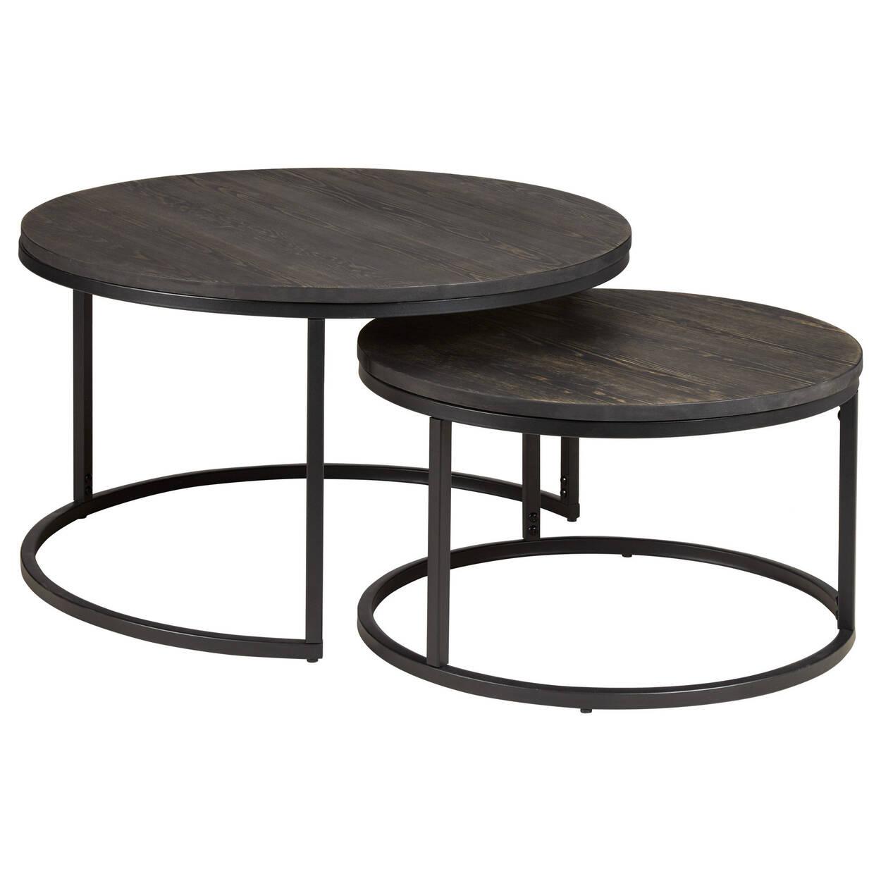 Bouclair Teak Coffee Table: Set Of 2 Wood Side Tables With Metal Legs
