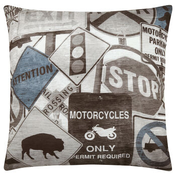 "Roadsign Decorative Pillow 18"" X 18"""
