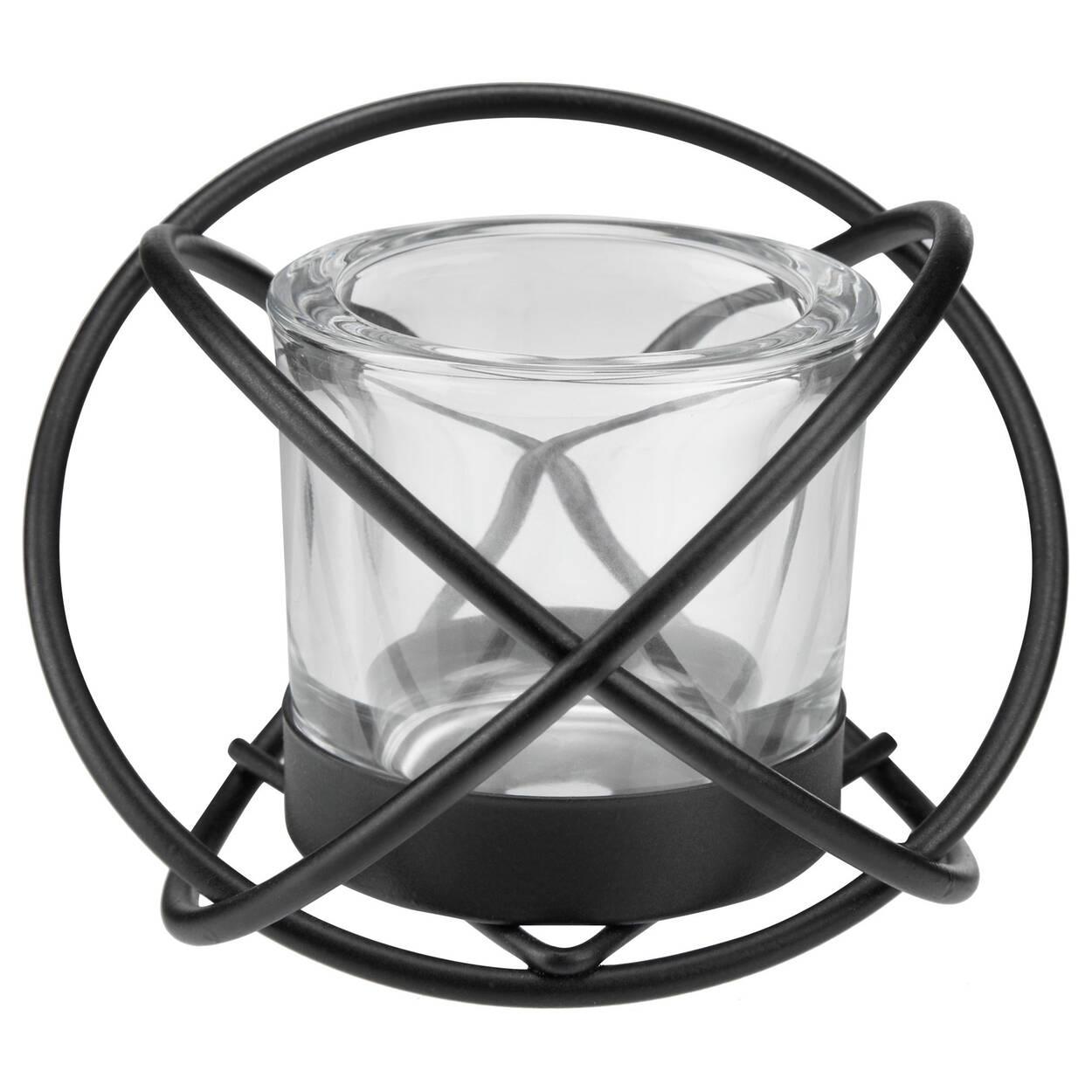 Iron Wire & Glass Tea Light Holder