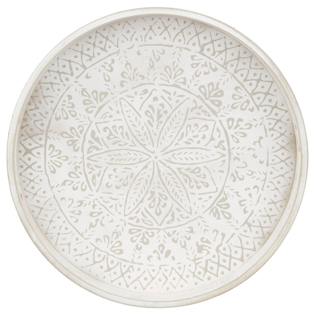 Round Patterned Wood Tray
