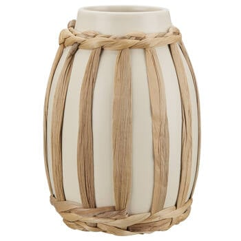 White Ceramic Vase Surrounded with Rattan
