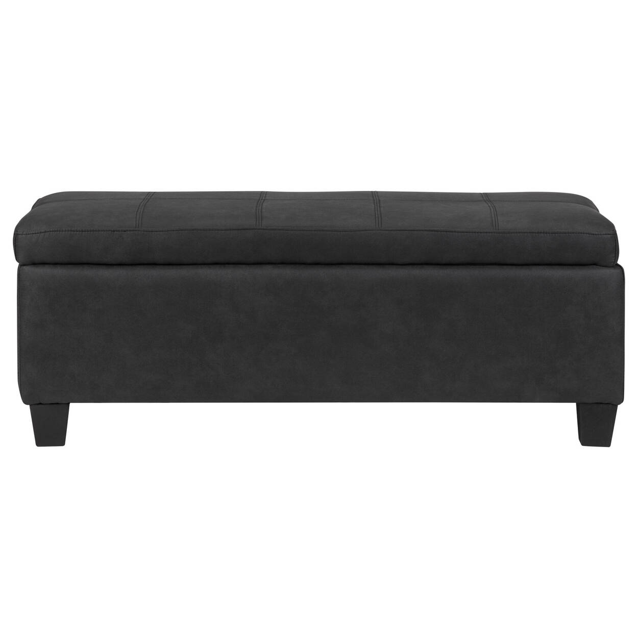 Textured Faux Leather Storage Ottoman