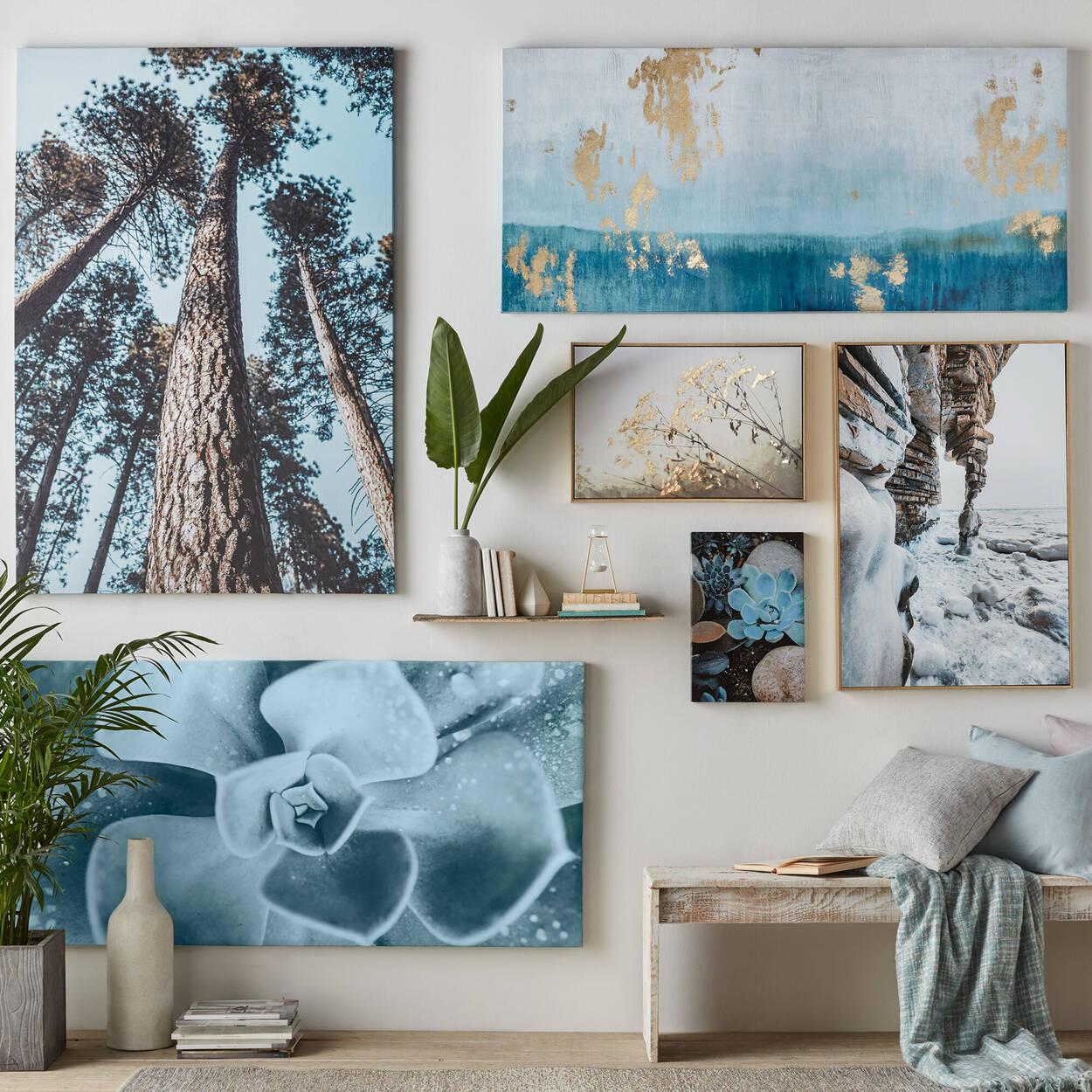 Foil-Embellished Framed Abstract Printed Canvas