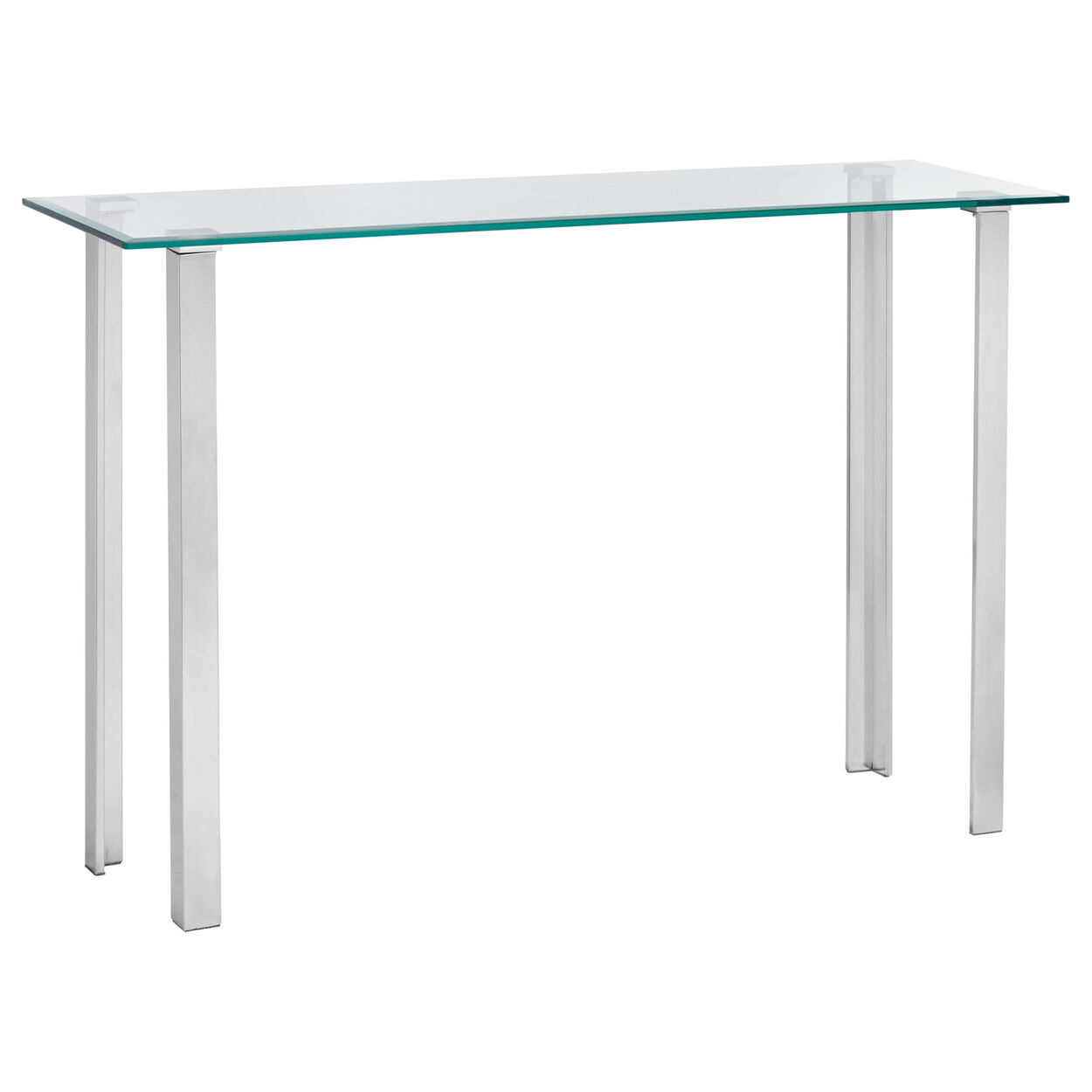 Glass Top Console Table With Stainless Steel Legs Bouclair Com