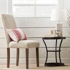 Round Pine Wood Veneer and Metal Side Table