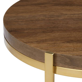 Veneer and Gold Metal Side table