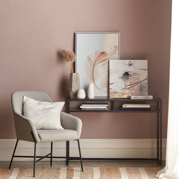 2-Shelf Tempered Glass and Metal Console Table
