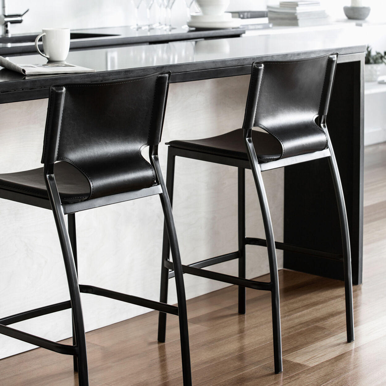 Faux Leather And Metal Bar Stool Bouclair Com