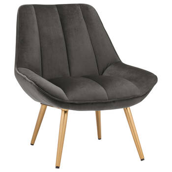 Velvet and Gold Metal Lounge Chair
