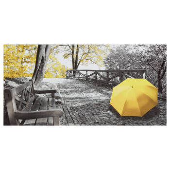 Yellow Umbrella in the Park Printed Canvas