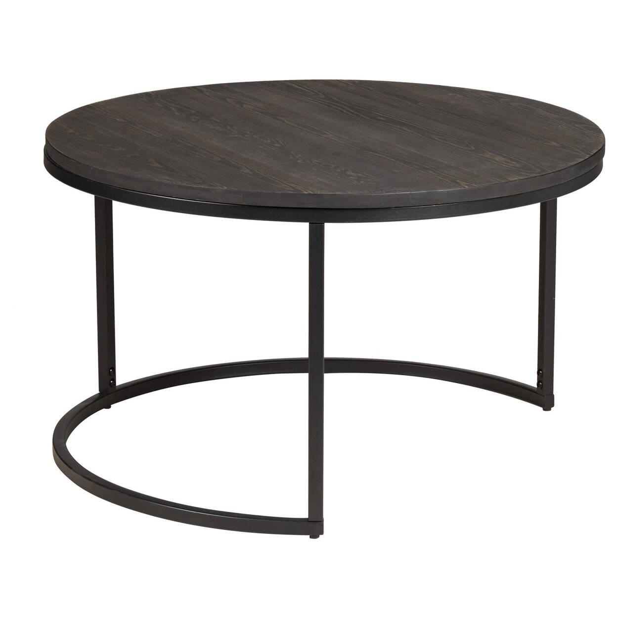 Set Of 2 Pine Wood Side Tables With Metal Legs Bouclaircom