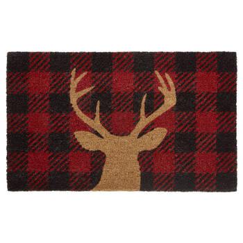 Buffalo Plaid and Deer Doormat